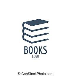 本, アイコン, 印。, アイコン, ∥あるいは∥, ロゴ, デザイン, ∥で∥, 3, books.