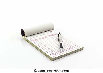 本, インボイス, ブランク, pen., 開いた, ページ