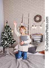 本, クリスマス, 読書, 幸せ, 子供