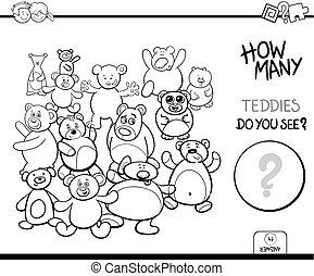本, ゲーム, 着色, 数える, テディ