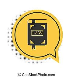 本, シンボル。, 法的, ベクトル, 泡, 裁判官, 判断, スピーチ, 法律, 隔離された, バックグラウンド。, book., アイコン, 黒, concept., 白, 黄色