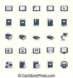 本, セット, 読書, 勉強, アイコン