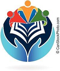 本, チームワーク, 教育, ロゴ, ベクトル