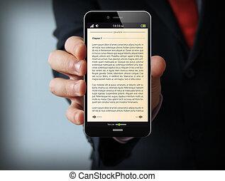 本, ビジネスマン, smartphone