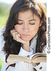 本, ブルネット, 若い, 読書