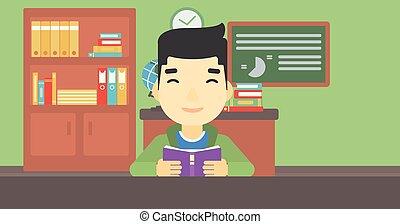 本, ベクトル, 読書, 学生, illustration.