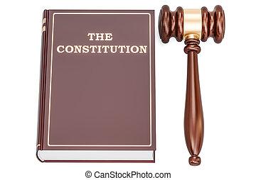 本, レンダリング, 憲法, 小槌, 3d