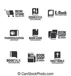 本, ロゴ, セット, 平ら, 黒, スタイル