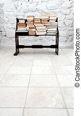 本, 上に, 古い, 木製のベンチ