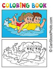 本, 主題, 着色, 3, 水泳