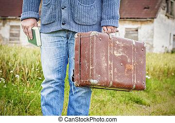 本, 人, スーツケース