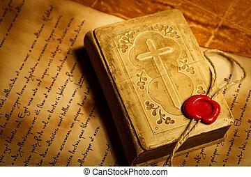本, 切手, ワックス, 古い, 祈とう, シール