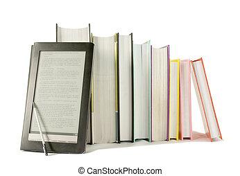 本, 印刷される, 背景, 読者, 白, 電子本, 横列