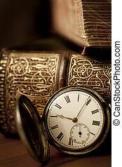 本, 古い, 壊中時計