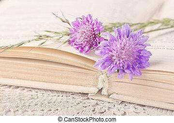 本, 古い, 花