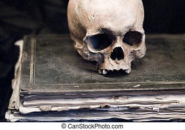 本, 古い, 頭骨