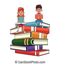 本, 大きい, 子供, 積み重ねられた, 若い