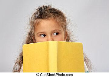 本, 女の子, の後ろ, 黄色, 隠ぺい