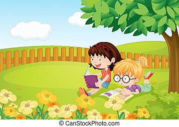 本, 女の子, 読書