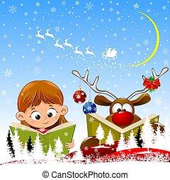 本, 女の子, 赤ん坊, 読まれた, トナカイ, クリスマス