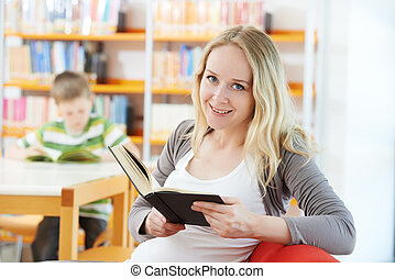本, 女, 若い, 図書館