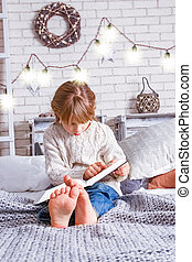 本, 子供, クリスマス, 読書, 幸せ