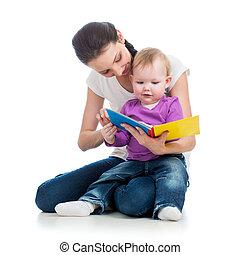 本, 子供, 母, 女の子の読書, 幸せ