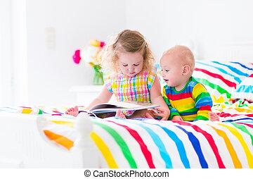 本, 子供, 2, ベッド, 読書