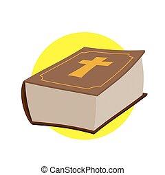 本, 宗教, 古い, 神聖, testament., 厚く, cross., キリスト教徒, ベクトル, illustration., 新しい, bible.
