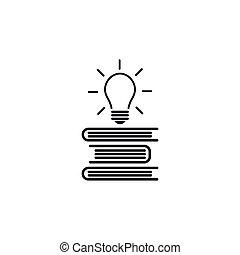 本, 平ら, 隔離された, アウト。, 山, 白, 照ること, icon., 飛行, アイコン, バックグラウンド。, 電球, アウトライン