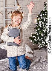 本, 幸せ, 読書, クリスマス, 子供