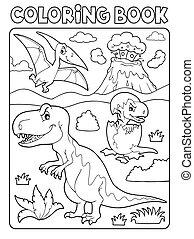 本, 恐竜, 9, イメージ, 着色, 主題