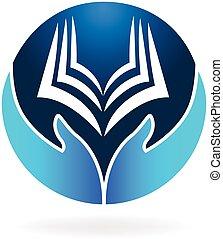 本, 教育, ロゴ, ベクトル