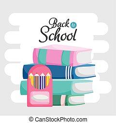 本, 有色人種, 積み重ねられた, 背中, 教育, 箱, 学校, 鉛筆