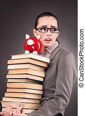 本, 概念, 教育, 若い, 学生