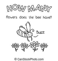 本, 漫画, 数える, ゲーム, 着色, 蜂