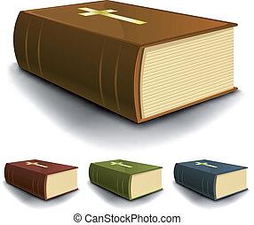 本, 神聖, セット, 大きい, 古い, 聖書