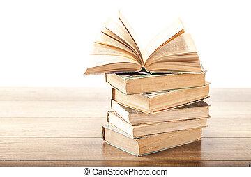 本, 背景, 開いた, 木製である, 型