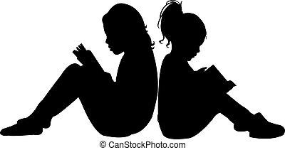 本, 読書, シルエット, 子供