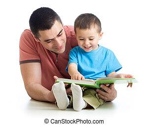 本, 読書, 人, 息子