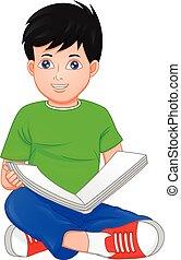 本, 読書, 男の子, かわいい, わずかしか
