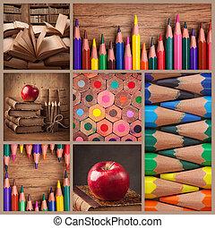 本, 鉛筆, コラージュ