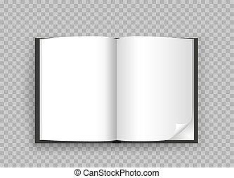 本, 開いた, 透明, 背景, テンプレート