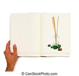 本, incense, 印刷される, 白