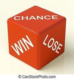 机会, 取得胜利, 失去, 红, 骰子, 显示, 运气, 同时,, 机会