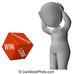 机会, 取得胜利, 失去, 骰子, 显示, 好的运气