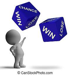 机会, 取得胜利, 失去, 骰子, 显示, 打赌
