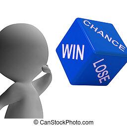机会, 取得胜利, 失去, 骰子, 显示, 赌博, 同时,, 危险