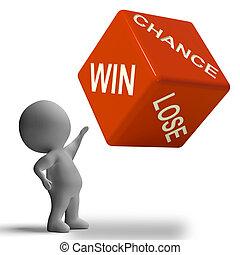 机会, 取得胜利, 失去, 骰子, 显示, 赌博