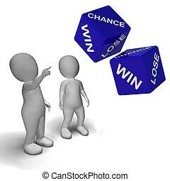 机会, 取得胜利, 失去, 骰子, 显示, 运气